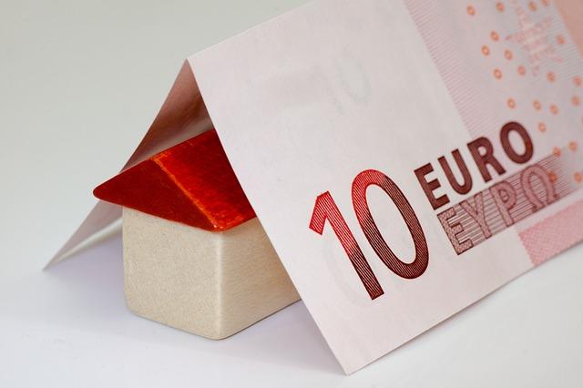 dřevěný domek, euro bankovka