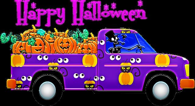 náklaďák veze dýně, halloween, ilustrace
